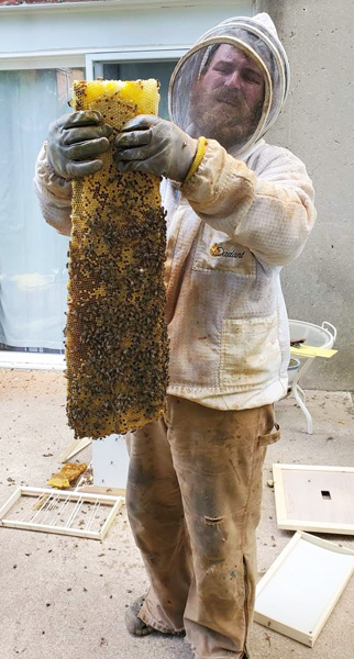 All suited up, Tony Taul holds up one of his bee colonies.